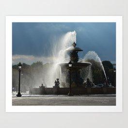 Paris, Place de la Concorde, fountain Art Print