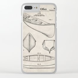 Canoe Patent - Kayak Art - Antique Clear iPhone Case