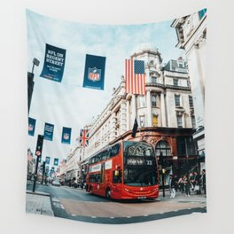 London Bus at Piccadilly Square by James Connolly Wall Tapestry