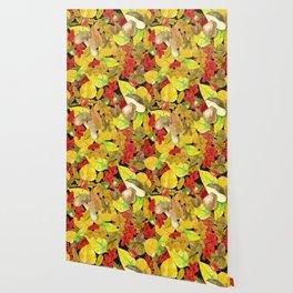 Watercolor autumn pattern Wallpaper