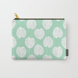House plant monstera leaf tropical trendy pattern mint and white gender neutral decor Carry-All Pouch