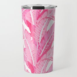 Pink banana leaves tropical pattern on white Travel Mug