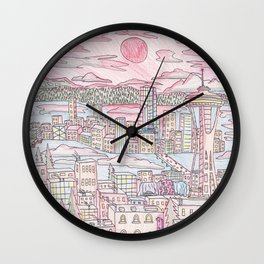 Seattle in Colored Pencil Wall Clock