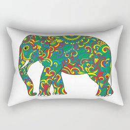 Vintage elephant with tribal ornaments Rectangular Pillow