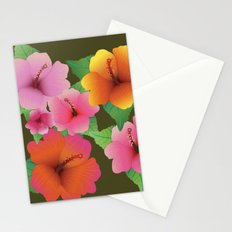 Colorful Hawaiian Hibiscus Flowers Stationery Cards