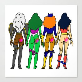 Superhero Butts Love 2 - Team Girls Canvas Print