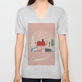 Festive Winter Hut in pink Unisex V-Neck