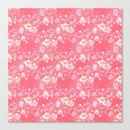 Raspberry Pink Floral Print Canvas Print