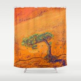 Orange Bonsai Shower Curtain
