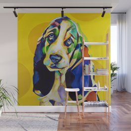 Pop Art Basset Hound Wall Mural