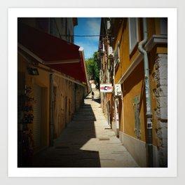 mountain biking stairs pula city croatia europe Art Print