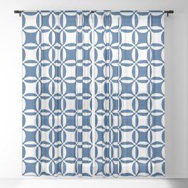 Geometry illusion in blue Sheer Curtain