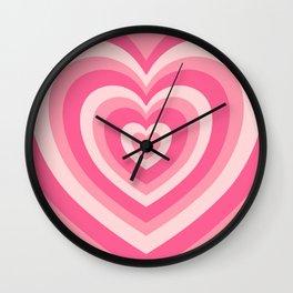 Hypnotic Pink Hearts Wall Clock