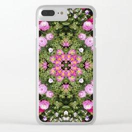 Gerbera And Ranunculus Kaleidoscope Clear iPhone Case