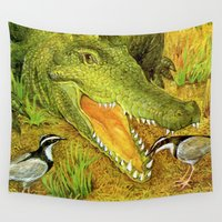 crocodile Wall Tapestries featuring Crocodile by Natalie Berman