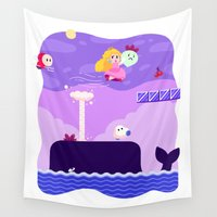 mario bros Wall Tapestries featuring Tiny Worlds - Super Mario Bros. 2: Peach by Paperbeatsscissors