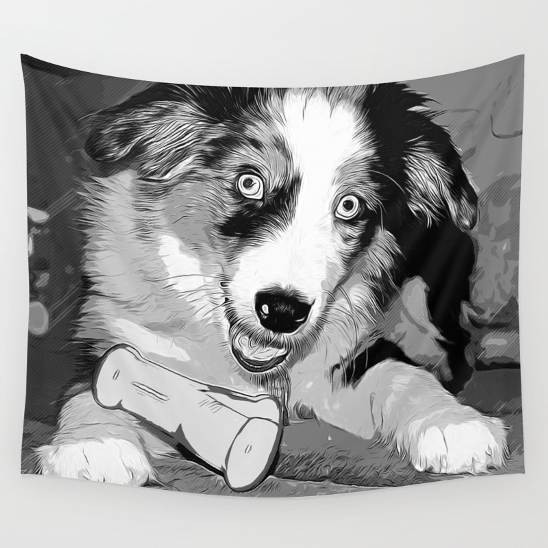 Australian Shepherd Aussie Dog Puppy Vector Art Black White Wall Tapestry By Gxp Design Society6