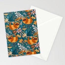 Happy Boho Sloth Floral Stationery Cards