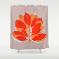 spice Shower Curtains featuring Blossom Spice by Garima Dhawan