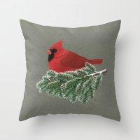 cardinal Throw Pillows featuring Cardinal by Sam Magee