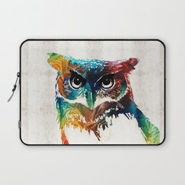 Colorful Owl Art - Wise Guy - By Sharon Cummings Laptop Sleeve