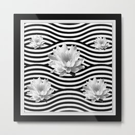 Black & White Water Lilies Water Garden Metal Print
