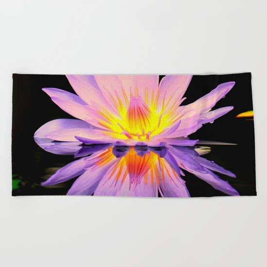 Bright lilly reflection Beach Towel