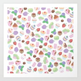 Pink teal trendy sweet macaroons cookies cupcake pattern Art Print