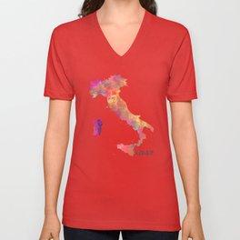 Italy map Unisex V-Neck