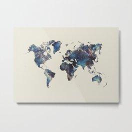 world map 124 blue  #worldmap #map Metal Print