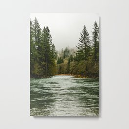 Wanderlust Forest River - Mountain Adventure in Foggy Woods Metal Print