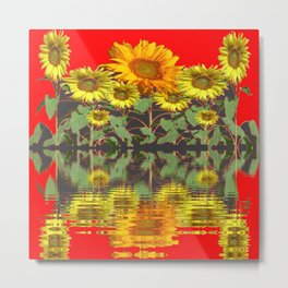 YELLOW SUNFLOWERS WATER RED REFLECTION Metal Print