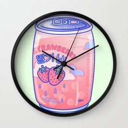 Strawberry Rain Wall Clock