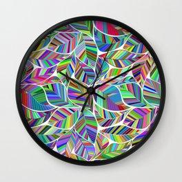 Colorful Leaf Pattern Wall Clock