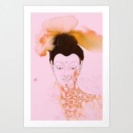 Pink Gautama Buddha Art Print