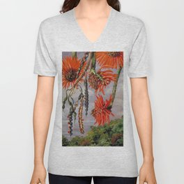 Flowering Red Coral Tree Tropical Flowers still life painting Unisex V-Neck