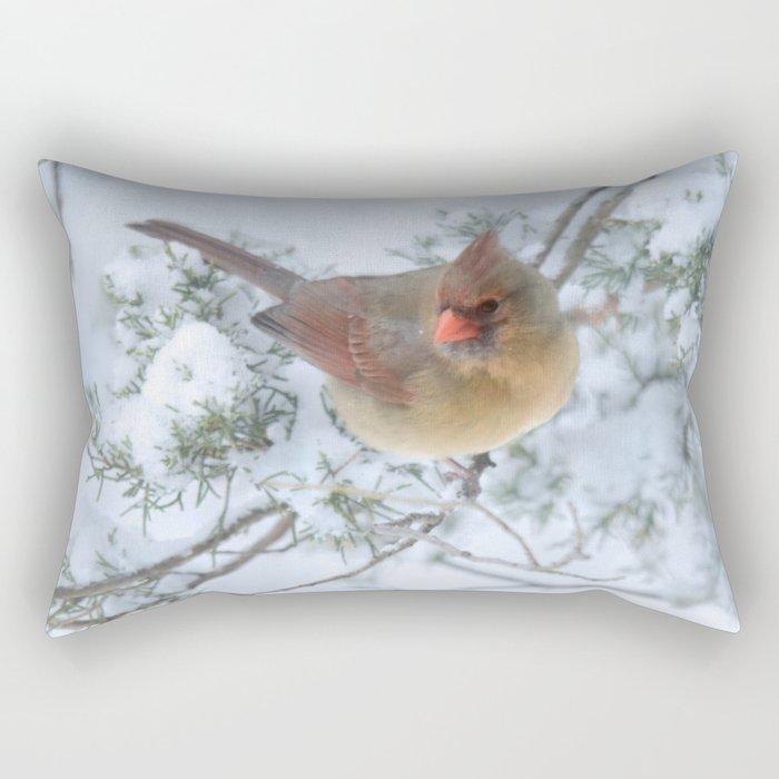 Drifting (Northern Cardinal) Rectangular Pillow