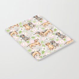 Dachshunds and dogwood blossoms Notebook