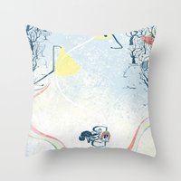 cycling Throw Pillows featuring Winter Cycling by Dushan Milic