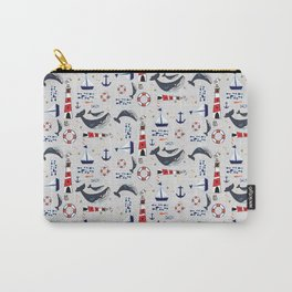 Ocean Blue Whale Grey Carry-All Pouch