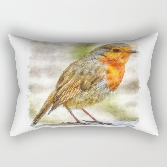 Christmas Robin Winter Watercolor Rectangular Pillow
