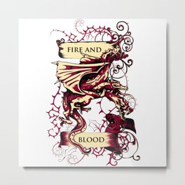 Dragon Triplets - FIRE AND BLOOD Metal Print