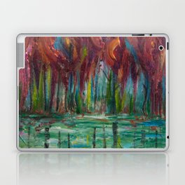 Red Trees Thick Impasto Abstract  Painting Laptop & iPad Skin