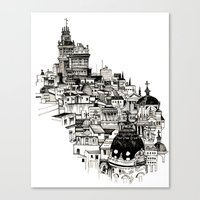 madrid Canvas Prints featuring Madrid by Justine Lecouffe
