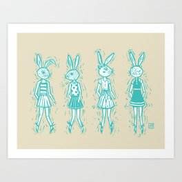 Bunny Girls - cute bunnies woodcut style texture clean creme natural rabbit ears hare cute  Art Print