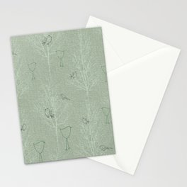 Cute Little Line Art Birds in White Trees - Sage Green Stationery Cards