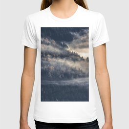 Calming Mountain Fog Scene T-shirt