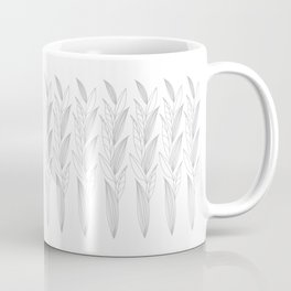 Growing Leaves: Silver Gray – White background Coffee Mug