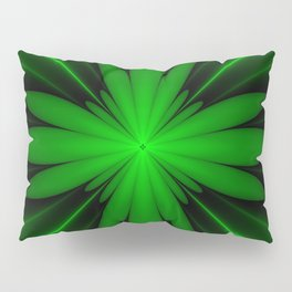 Neon Green Flower Fractal Pillow Sham