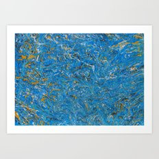 Blue and Gold marbled stone Art Print